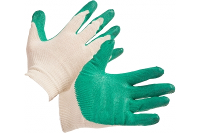 Перчатки трикотажные хлопкоэфирные с одинарным латексным обливом зеленые