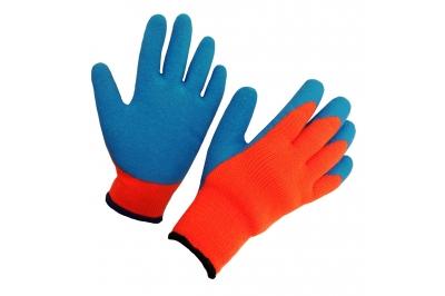 Перчатки акриловые с рифленым латексным покрытием утепленные ТОРО ЛЮКС !!! ЗИМА !!! (перчатки стекольщика)