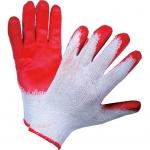 Перчатки трикотажные хлопкоэфирные с одинарным латексным обливом красные