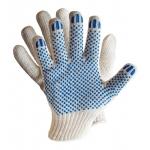 Перчатки трикотажные х/б 10 кл. с ПВХ, 180 текс,  белые